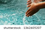 splash of pool water background | Shutterstock . vector #1362605207