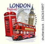 Travel London Poster With Big...