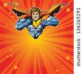 generic superhero figure flying ... | Shutterstock .eps vector #136265291