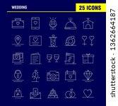 wedding line icons set for...