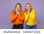 two smiling young blonde twins...   Shutterstock . vector #1362671261