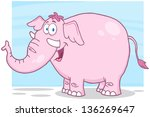 Happy Pink Elephant Cartoon...