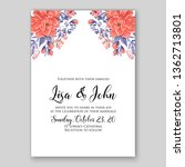rose wedding invitation floral... | Shutterstock .eps vector #1362713801