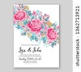 rose wedding invitation floral... | Shutterstock .eps vector #1362713921