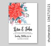 floral wedding invitation with... | Shutterstock .eps vector #1362715121