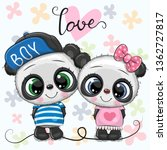 two cute cartoon pandas on a... | Shutterstock .eps vector #1362727817
