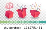 surpise box animation vector...