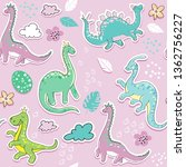 Stock vector cute little dinosaur on a pink background seamless pattern 1362756227