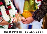 indian bride and groom holding... | Shutterstock . vector #1362771614