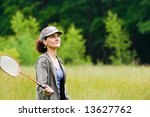 woman with cap playing... | Shutterstock . vector #13627762