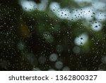 water rain drop on glass window | Shutterstock . vector #1362800327