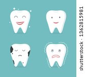 tooth characters set. oral... | Shutterstock .eps vector #1362815981