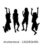 happy jumping girl silhouettes  ... | Shutterstock .eps vector #1362826481