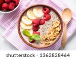 pink smoothie bowl with banana  ... | Shutterstock . vector #1362828464