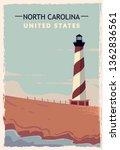 north carolina retro poster....   Shutterstock .eps vector #1362836561
