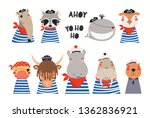 big set of cute nautical... | Shutterstock .eps vector #1362836921
