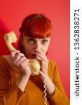 pretty woman gossips by... | Shutterstock . vector #1362838271