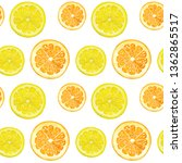 watercolor pattern lemons and... | Shutterstock . vector #1362865517