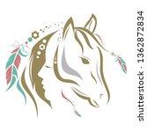 Stock vector horse dream catcher 1362872834