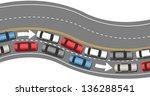 one way bumper to bumper car... | Shutterstock .eps vector #136288541