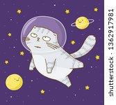 cute scottishfold cat astronaut ... | Shutterstock .eps vector #1362917981
