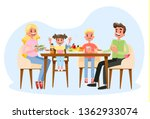 family having breakfast at the... | Shutterstock .eps vector #1362933074