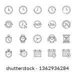 time flat line icons set. alarm ...   Shutterstock .eps vector #1362936284