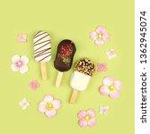 eskimo ice cream in glaze.... | Shutterstock . vector #1362945074