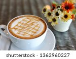 hot caramel macchiato coffee... | Shutterstock . vector #1362960227