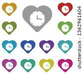 heart clock multi color icon....