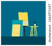 flat style.  easels or painting ... | Shutterstock .eps vector #1362971357