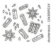 set of doodle outline cinnamon... | Shutterstock .eps vector #1363009214