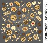 set of doodle colored cookies ... | Shutterstock .eps vector #1363009217