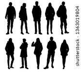 set of vector silhouettes of ... | Shutterstock .eps vector #1363019804