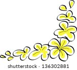 drawing tropical plumeria... | Shutterstock .eps vector #136302881