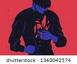 unhappy young man and his inner ... | Shutterstock .eps vector #1363042574
