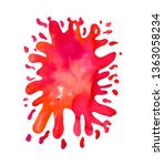 watercolor bright red paint...   Shutterstock . vector #1363058234