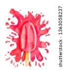 watercolor bright red raspberry ...   Shutterstock . vector #1363058237