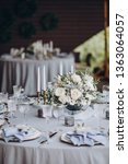 banquet table is decorated with ... | Shutterstock . vector #1363064057