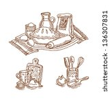 vintage baking still life   Shutterstock .eps vector #136307831