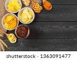 lager beer and snacks on wooden ...   Shutterstock . vector #1363091477