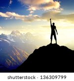 silhouette of a champion on the ... | Shutterstock . vector #136309799