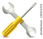 screwdriver and wrench | Shutterstock .eps vector #136311215
