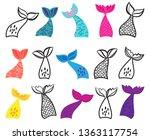 vector collection of mermaid...   Shutterstock .eps vector #1363117754