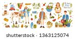 collection of organic eco vegan ... | Shutterstock .eps vector #1363125074