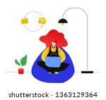 freelance worker   modern flat... | Shutterstock .eps vector #1363129364