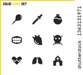 medical icons set with enema ...