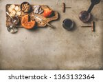 wine and snack set. flat lay of ... | Shutterstock . vector #1363132364