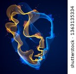 dotted particles human portrait ... | Shutterstock .eps vector #1363135334