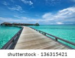 beautiful beach with water... | Shutterstock . vector #136315421